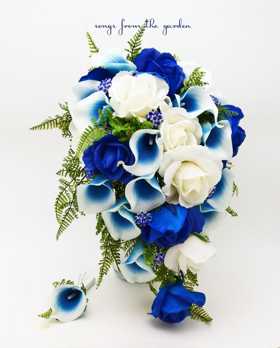 Hochzeit - Cascade Bridal Bouquet Blue Picasso Callas Real Touch White Royal Blue Roses, Blue Rhinestones - Customize for your Colors