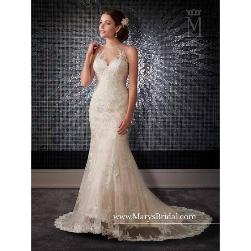 419cffe6d Marys Bridal 6418 Wedding Dress - Wedding Long Fit and Flare Marys Bridal  Illusion, Jewel, Sleeveless, Sweetheart, Yoke Dress - 2017 New Wedding  Dresses