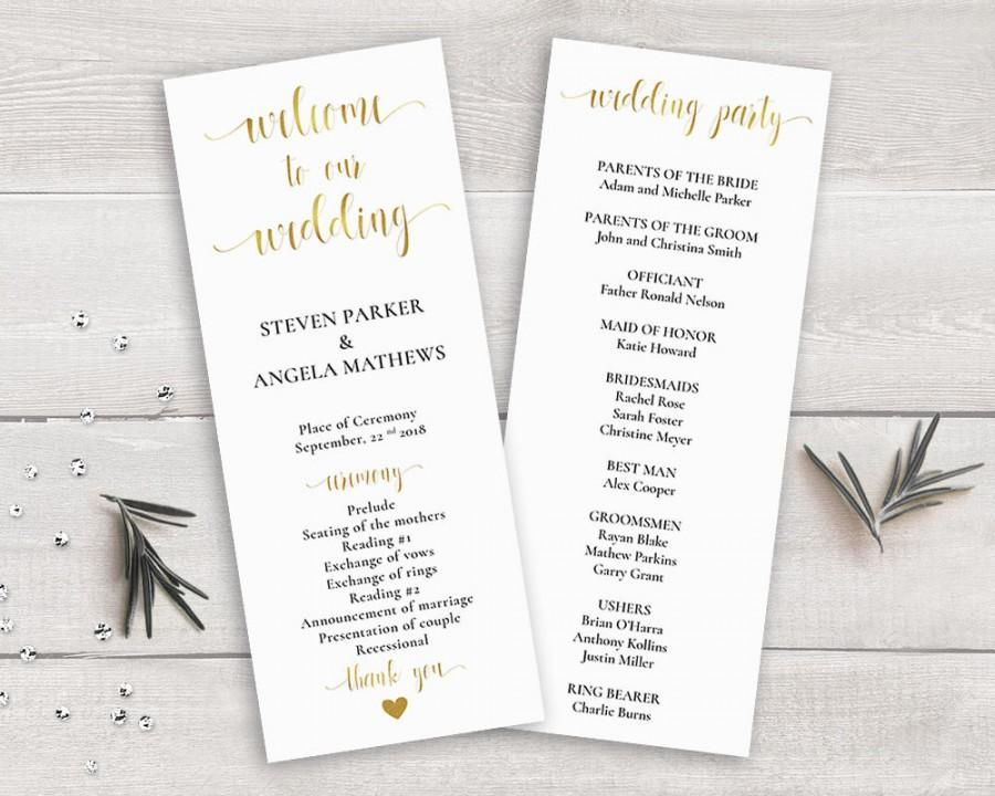 gold wedding program template order of ceremony printable wedding