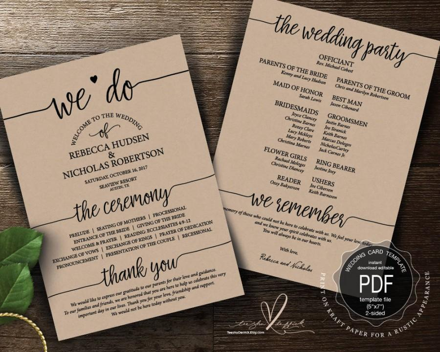 Mariage - Wedding Program PDF card template, instant download editable printable, Ceremony order card in rustic calligraphy theme (TED410_2)