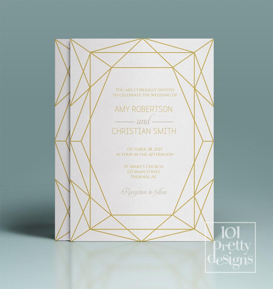 Mariage - Gold wedding invitation set jewel wedding invitation template printable wedding invitation design diamond invitation golden gem modern set