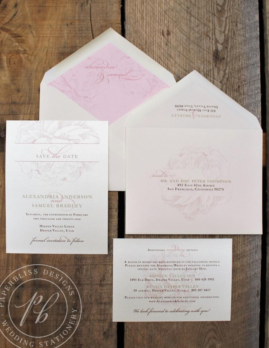 Mariage - Peony Save the Date wedding cards - Vintage floral save-the-dates, Peony botanical invitations for a spring outdoor garden wedding PBW005-S