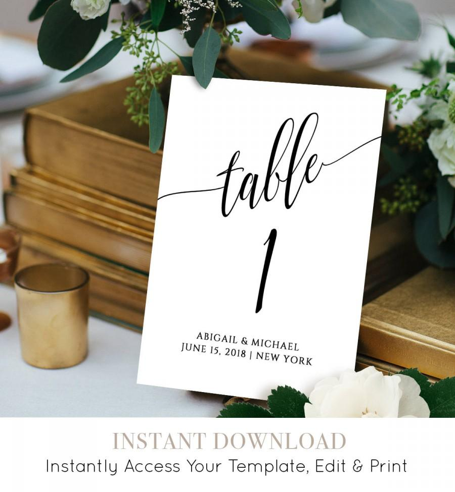 Mariage - Wedding Table Number Card Template, Calligraphy, Editable, Printable, Instant Download, DIY Table Seating Card, 4x4 and 5x7, #020-112TC