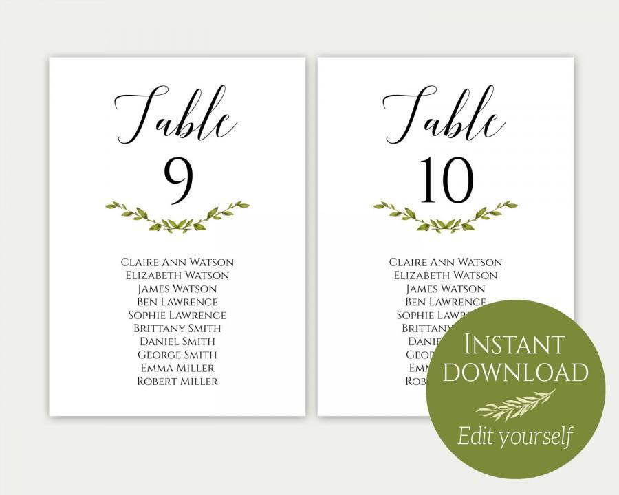 Mariage - Wedding Seating Chart Template, Seating Cards, Seating Chart Sign, Seating Chart Template, Editable Seating Chart, PDF Download, Greenery