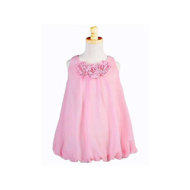 Hochzeit - Pink Euro Chiffon Rosebud Dress Style: D3510 - Charming Wedding Party Dresses