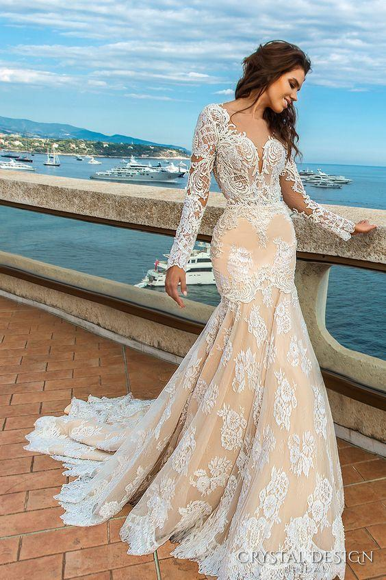 Lace Wedding Dress New Styles Boho Wedding Gown With Long Sleeves