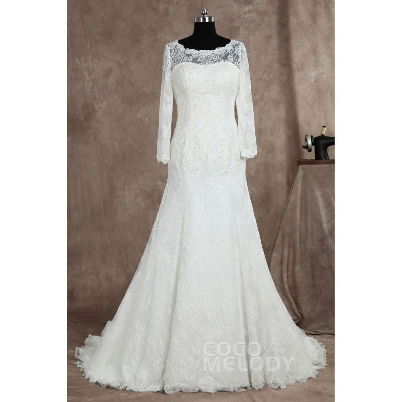 Wedding - Charming Train Lace Ivory Long Sleeve Wedding Dress with Appliques and Removable Train LD3025 - Top Designer Wedding Online-Shop
