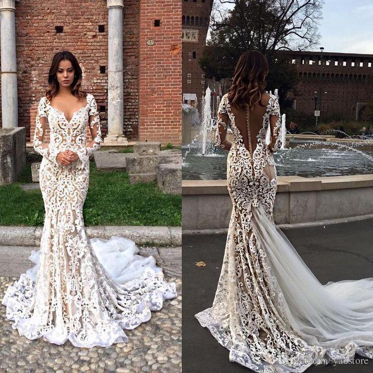 8bbb55e32fae Modest Lace Mermaid Wedding Dresses With Long Sleeves V-Neck Trumpet  Illusion Backless Bridal Gowns Sweep Train Wedding Dress