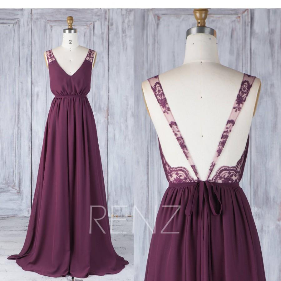 زفاف - Bridesmaid Dress Plum Chiffon Wedding Dress with Sash,V Neck Prom Dress,Illusion Lace Straps Maxi Dress,Backless Ball Gown Full Length(H538)