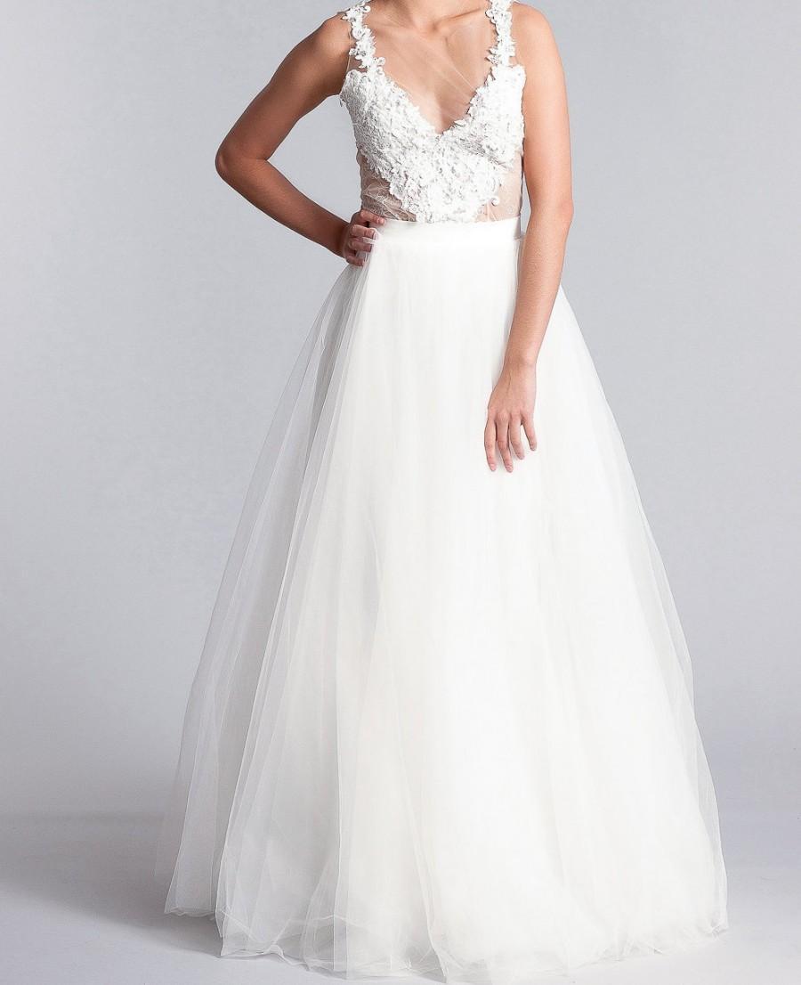 زفاف - Bridal skirt, Long tulle skirt,  tulle skirt, Bridal separates,  Long bridal skirt in white or Ivory
