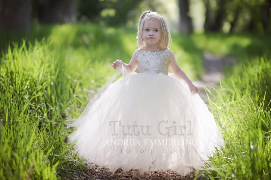 زفاف - Champagne Sequin Tutu Dress, Sleeveless Tutu Dress, Champagne Tulle Dress, Champagne Flower Girl Tutu Dress