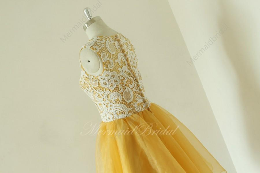Mariage - Vintage short lace gold prom dress, prom gowns, short organza prom dress, hocoming dress, party dresses