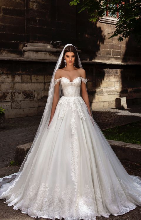 Wedding - Off-The-Shoulder Lace Embroidered Wedding Dress