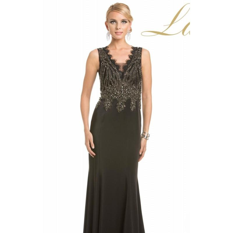 Mariage - Black Beaded Scalloped Gown by Lara Designs - Color Your Classy Wardrobe
