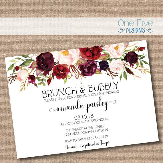 brunch bubbly bridal shower invitation with flowers fall colors elegant simple classic burgundy blush garden printable 5x7