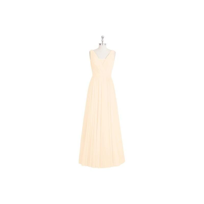 Hochzeit - Peach Azazie Ellen - Floor Length Chiffon And Lace V Neck V Back Dress - Charming Bridesmaids Store