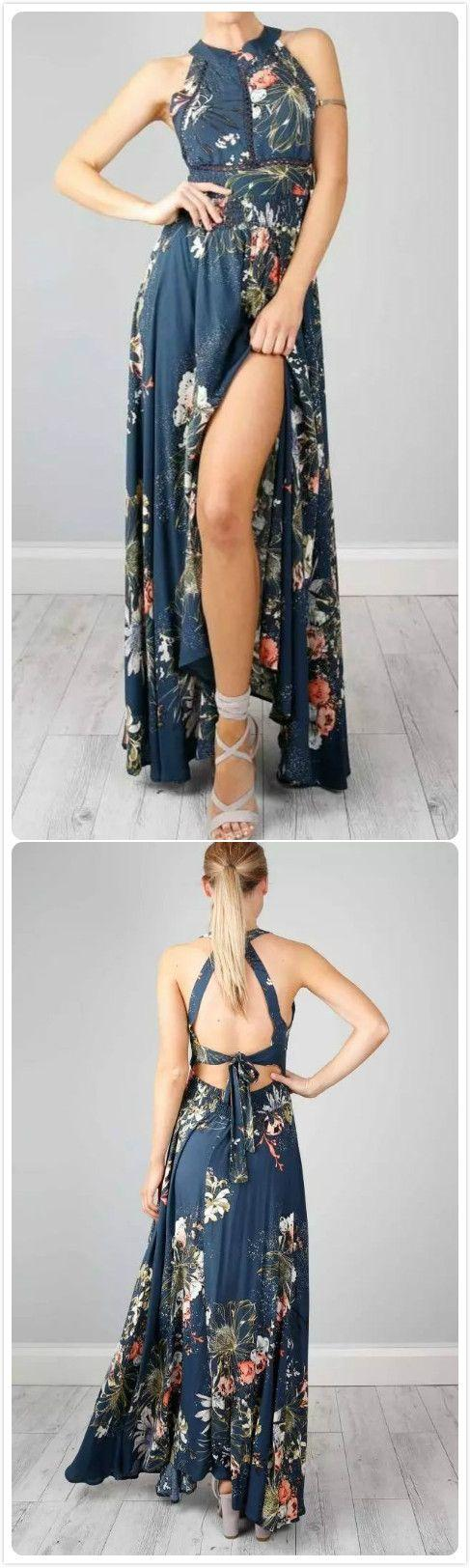 Mariage - Halter Backless Floral Printed Maxi Dress - AZBRO.com