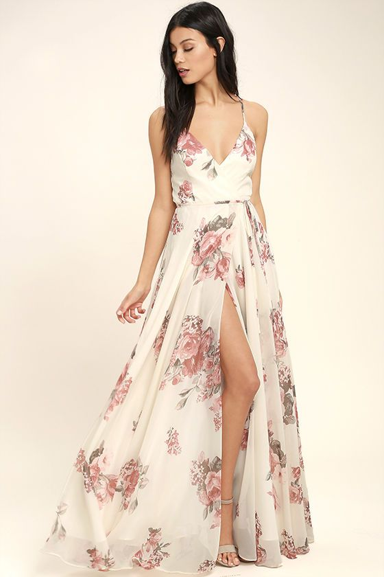 Mariage - Elegantly Inclined Cream Floral Print Wrap Maxi Dress