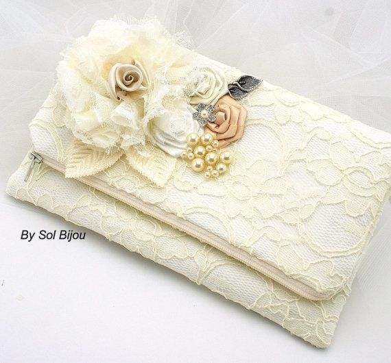 Hochzeit - Ivory Lace Clutch, Vintage Style, White, Tan, Champagne, Elegant Wedding, Purse, Handbag, Lace, Pearls, Crystals, Rectangular
