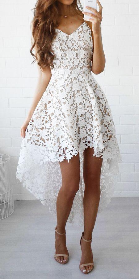Свадьба - White V-neck Dipped Hem Spaghetti Straps Cami Lace Dress