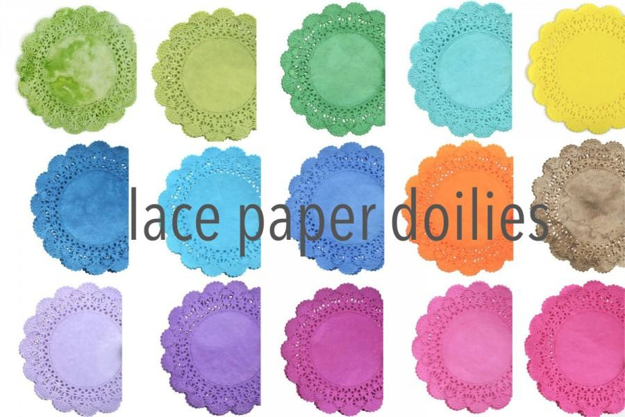 Hochzeit - Lace Paper Doilies Cambridge style - Choose your colors Hand dyed doily Tea party round doilies Weddings, Quinceanera, Sweet Sixteen Showers