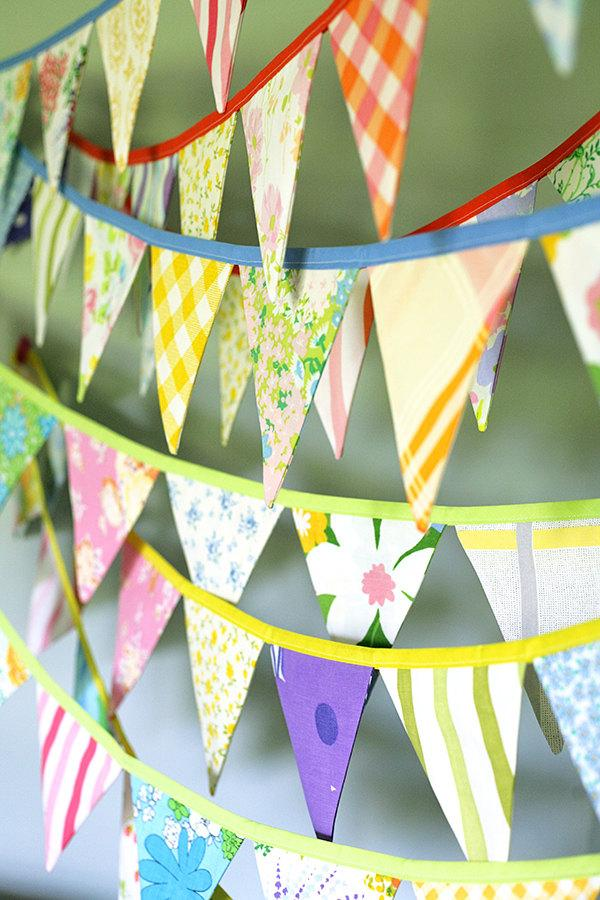 Hochzeit - Colorful Bunting Banner - Vintage Fabric Flag Garland - Baby Shower Decoration - Nursery Decor - Party Bunting - Three 10' Buntings