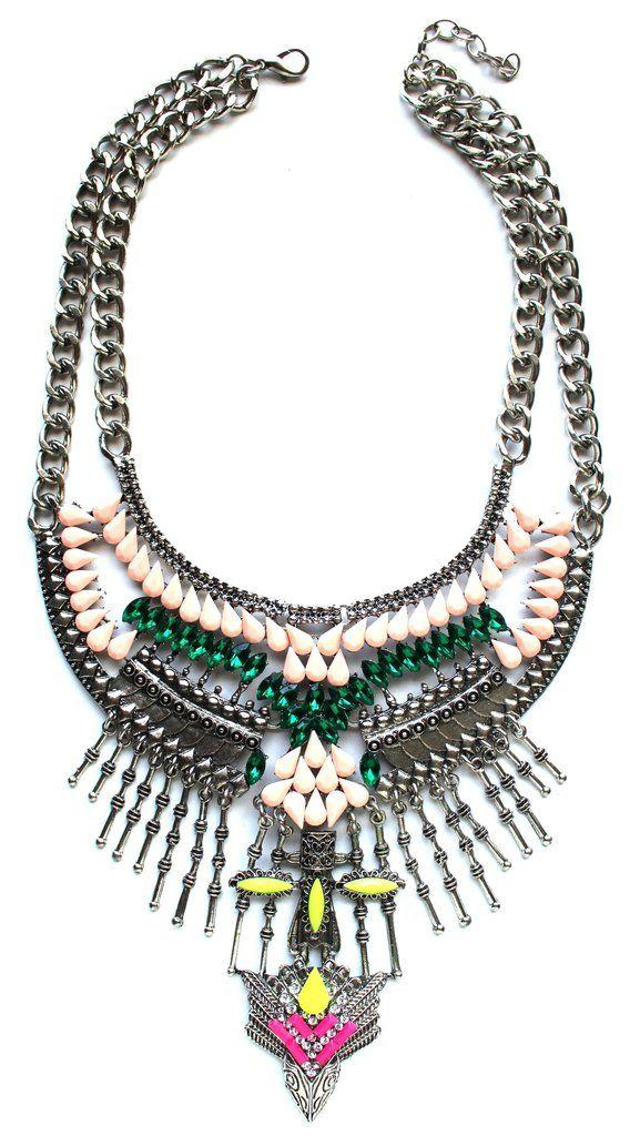 Mariage - Gypsy Bling Statement Necklace- Multi