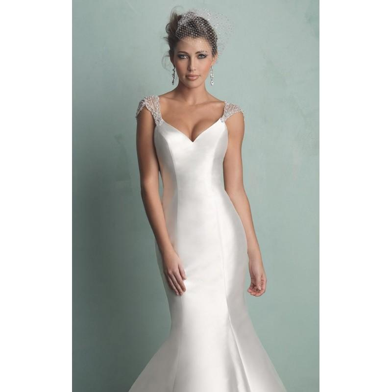 Wedding - Diamond White/Silver Satin Wedding Gown by Allure Bridals - Color Your Classy Wardrobe