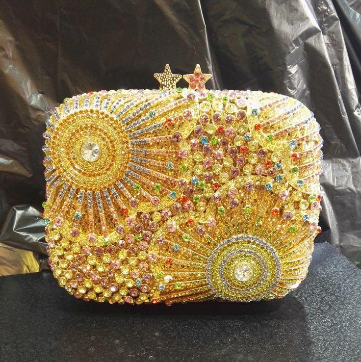 Hochzeit - Gold Embellished Rhinestone Crystal Minaudiere Wedding Clutch