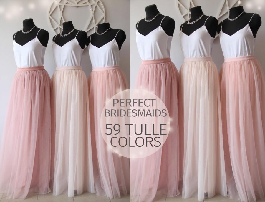 a162e15c1 Bridesmaids Dress Tulle Skirt Long Floor Length Women's Tulle Skirt Bridal  Women Tulle Skirt Wedding Long Blush Pink Ivory Tulle Dress