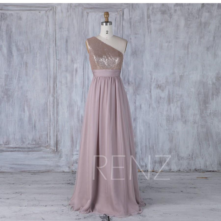 f4dedc2f07 Bridesmaid Dress Tan Sequin Rose Gray Chiffon Wedding Dress