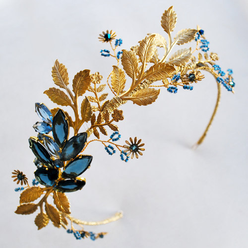 Mariage - Gold blue bridal leaf crown