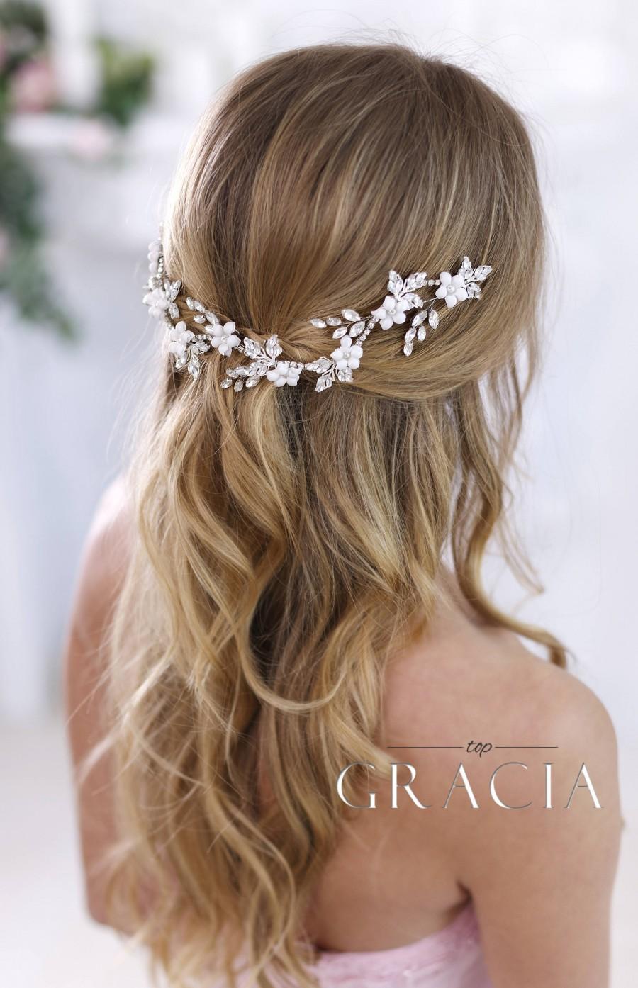 Mariage - Crystal headband Bridal hair flowers Bridal Hair Jewelry Wedding Headband Wedding Headpiece Rhinestone headpiece Crystal Hair Accessories