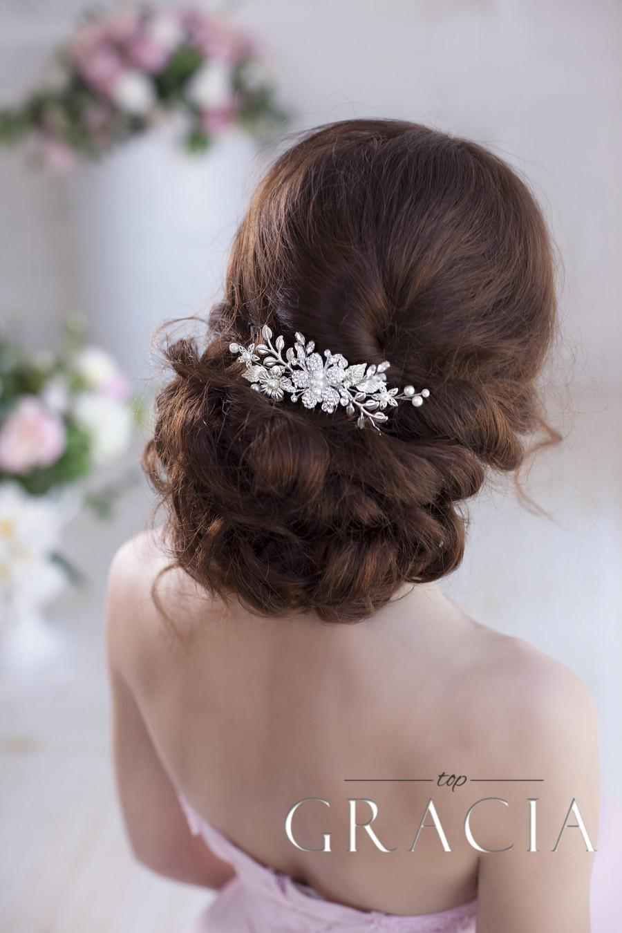 Wedding - Silver hair comb Leaf hair comb Wedding hair comb Bridal hair comb Flower hair comb Crystal hair comb Bridal comb Wedding comb Silver comb