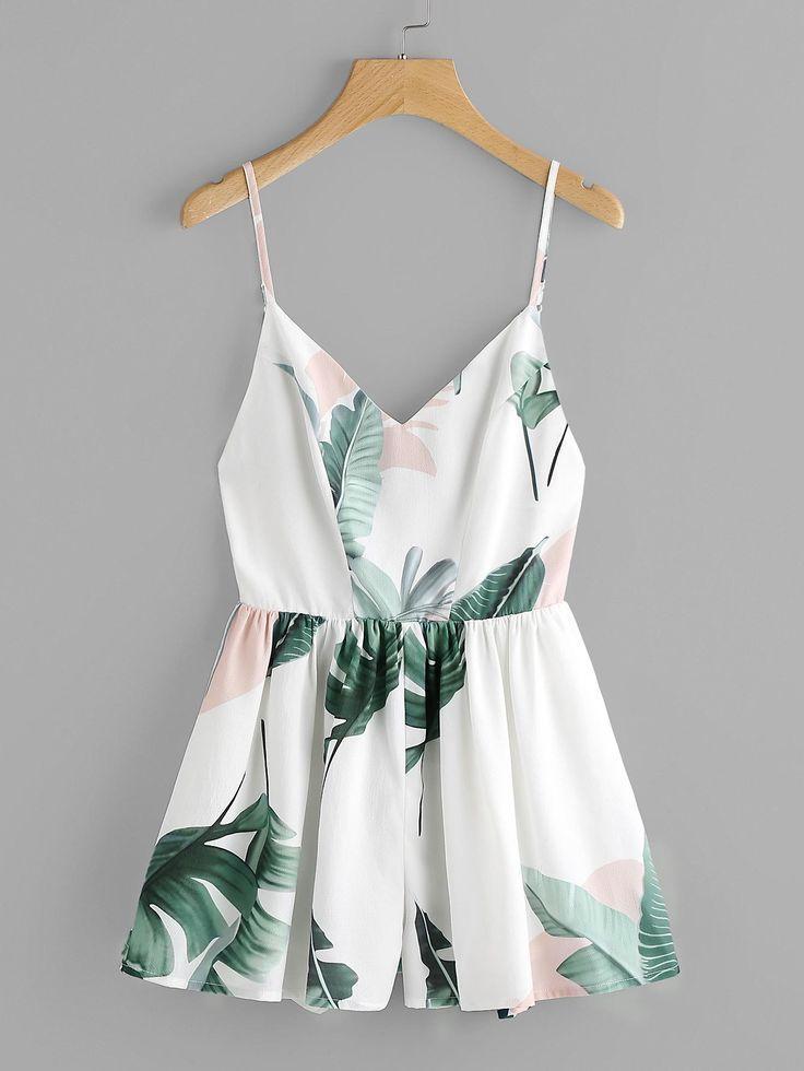 Hochzeit - Jungle Leaf Print Crisscross Back Princess Seam Playsuit