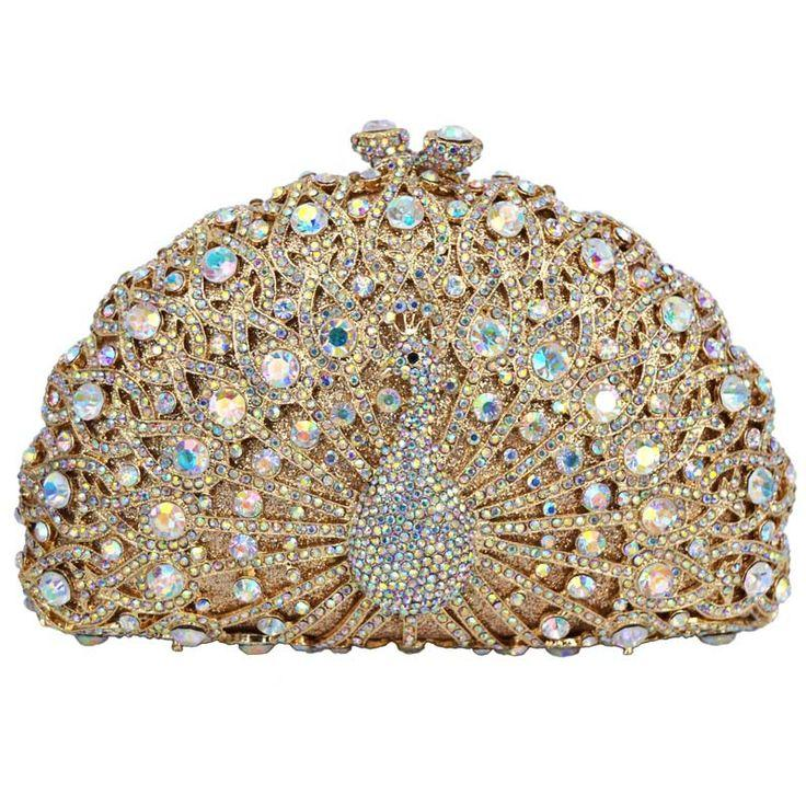 f5808055ea LaiSC Luxury Crystal Evening Bag Peacock Clutch Diamond Party Purse ...