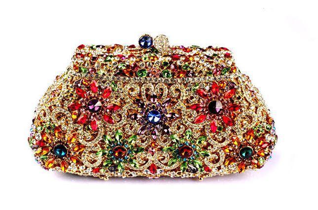 Hochzeit - Luxury Dazzling Rhinestone Wedding Clutch Flower Hollow Cut Crystal Bridal Pruse