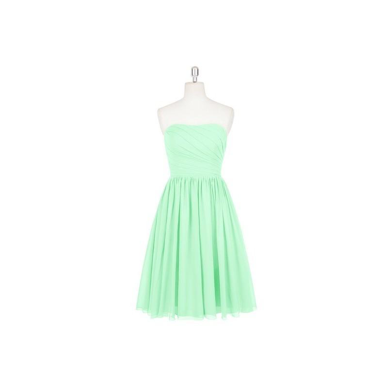 Wedding - Mint_green Azazie Katie - Sweetheart Chiffon Side Zip Knee Length Dress - Charming Bridesmaids Store