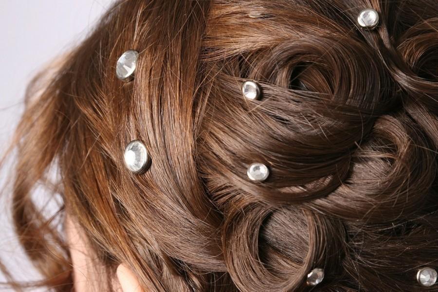 Mariage - 10 Crystal Hair Snaps - Round Silver Rim Edition -- Made with Swarovski Crystal Element Rhinestones