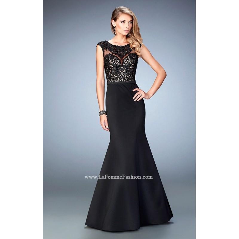 Свадьба - Black La Femme 22231 - Mermaid Cap Sleeves Lace Dress - Customize Your Prom Dress