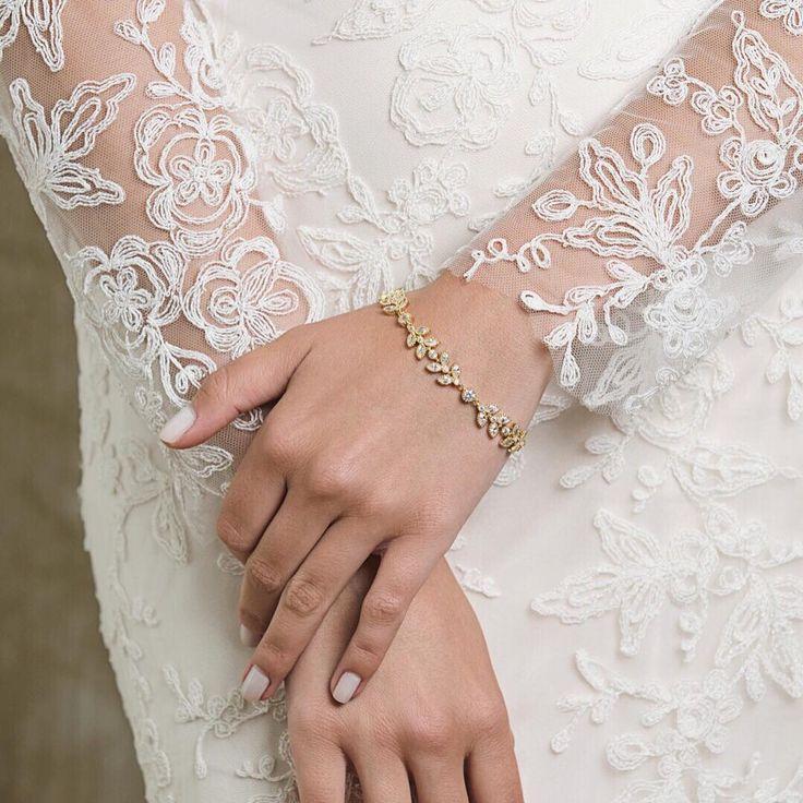 زفاف - Gold Cubic Zirconia Bracelet Bridal Bracelet Wedding Gold Bracelet Bridal Jewelry Wedding Jewelry Crystal Jewelry Wedding Bracelet B065-G