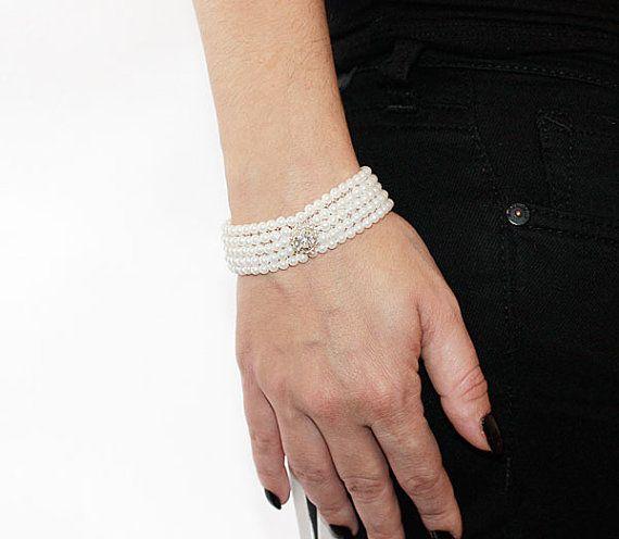 زفاف - Pearl Embroidered Bracelet, Pearl Cuff, Pearl Bracalet, Gift Ideas