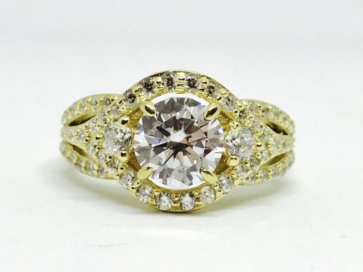 زفاف - A Perfect 1.3CT Round Cut Russian Lab Diamond Engagement Ring