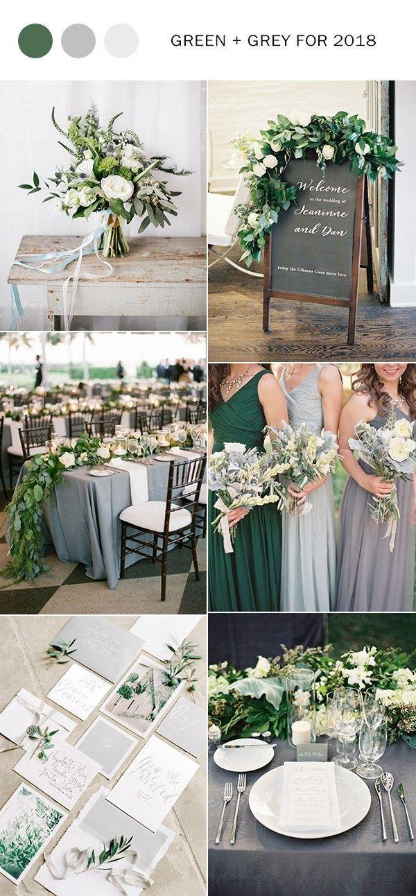 زفاف - Trending-21 Elegant Green And Grey Wedding Color Ideas For 2018