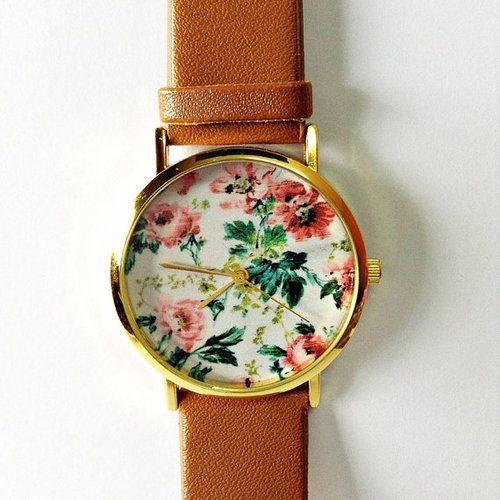 Wedding - Floral Watch, SALE! Women Watches, Vintage Style Leather Watch, Unisex Watch, Boyfriend Watch, Personalized Watch, Unique Watches, Gift