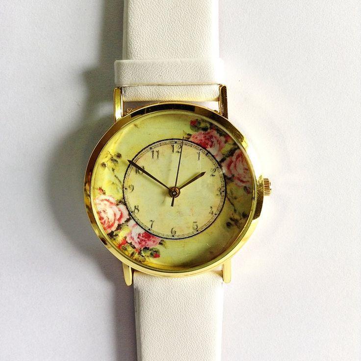 Свадьба - Floral Watch, Women Watches, Watches For Women, Gifts For Women, Vintage Style Leather Watch, Boyfriend Watch, Women's Watch, Ladies Watch