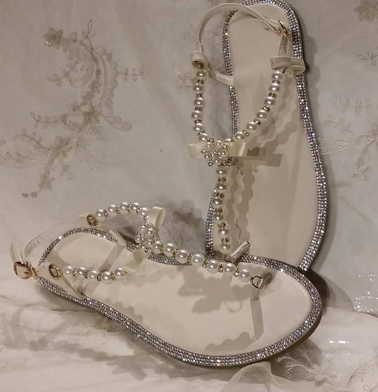 b562afa66023d Ivory Wedding Sandals Ivory Bridal Sandals With Pearls And Crystals ...