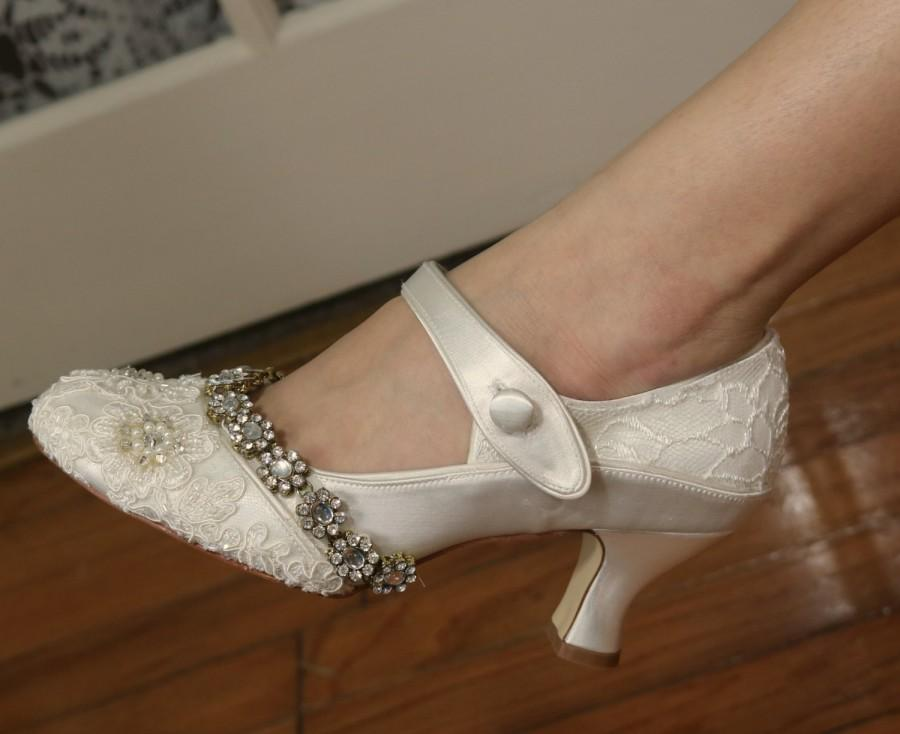 Jazzy Ivory 1920s Wedding Shoes Gatsby Style Shoes Flapper
