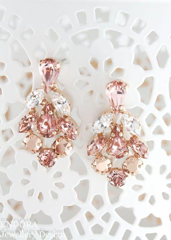 زفاف - Rose Gold Earrings,Rose Gold Blush Bridal Earrings,blush Earrings,Swarovski Blush,swarovski Earrings,rose Gold Earrings,blush Wedding,blush