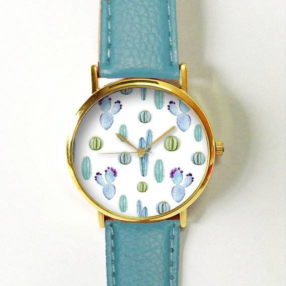 Wedding - Cactus Succulents Watch , Women Watches, Leather Watch, Boyfriend Watch, Ladies Watch, Silver Gold Rose Watch, Green Thumb, Plant Lovers